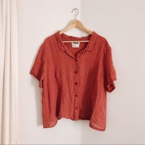 FLAX / Short-sleeve Button-Down in Red / Large